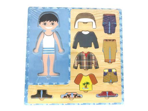 Drewniana układanka puzzle chłopczyk ubrania