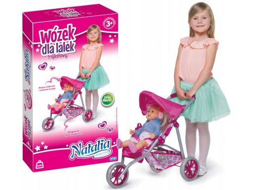 Natalia wózek dla lalek trójkołowy spacerówka róż