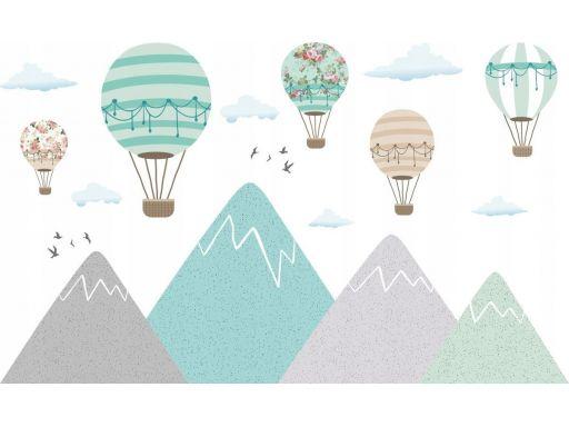 Naklejki turkusowe balony góry 165x100cm past_4530
