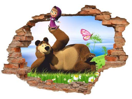 Naklejki na ścianę 3d masza i niedźwiedź 160x110cm