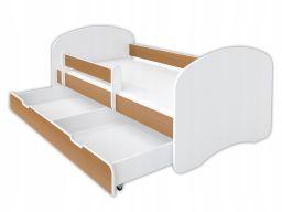 Łóżeczko happy 160x80 buk z szufladą i materacem