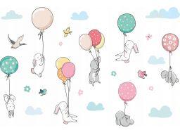Naklejki dla dzieci balony króliki chmurki 200cm