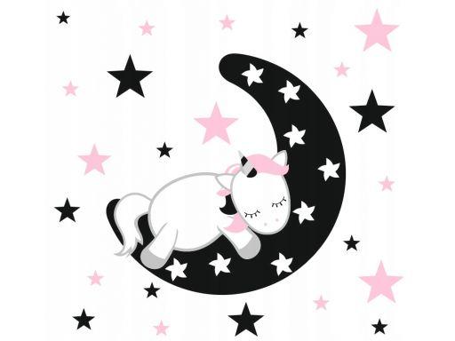 Naklejka śpiący jednorożec księżyc gwiazdy 185x100