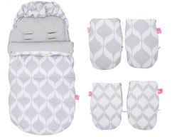 Zestaw śpiworek do wózka+mufki+wkładka motherhood