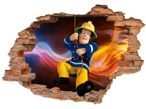 Naklejki na ścianę 3d strażak sam bajki 160x110cm