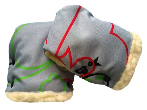 Mufki rękawiczki owcza wełna do wózków lub sanek