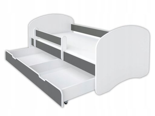 Łóżko happy szare 160x80 zestaw szuflada i materac