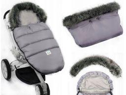 Śpiworek + mufki fluffy z futerkiem na wózek sanki