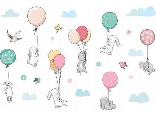 Naklejki dla dzieci balony króliki chmurki 240cm